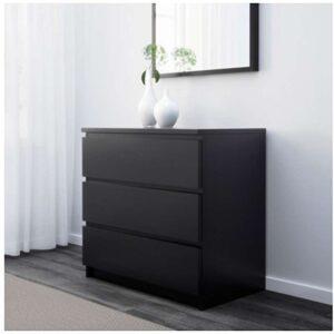 МАЛЬМ Комод с 3 ящиками черно-коричневый 80x78 см - Артикул: 403.685.34