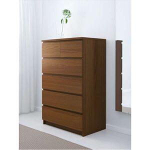 МАЛЬМ Комод с 6 ящиками коричневая морилка ясеневый шпон 80x123 см - Артикул: 903.941.92