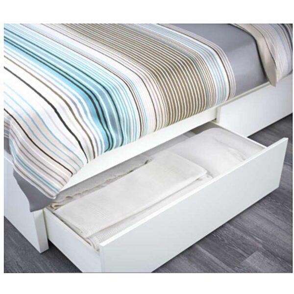 МАЛЬМ Высокий каркас кровати 4 ящика, белый + ламели Лурой, 160x200 см. Артикул: 692.110.24