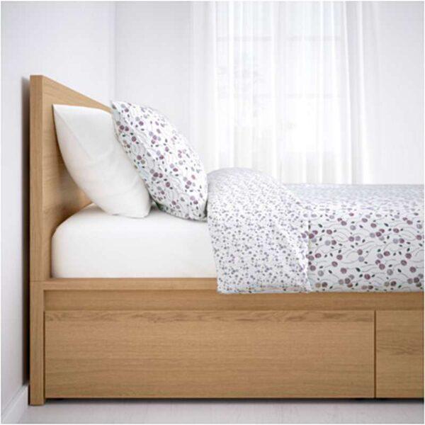 МАЛЬМ Высокий каркас кровати 4 ящика, дубовый шпон, беленый + ламели Лурой, 160x200 см. Артикул: 992.109.47