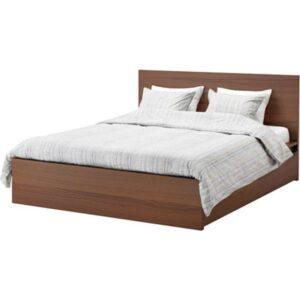 МАЛЬМ Высокий каркас кровати 4 ящика, коричневая морилка ясеневый шпон + ламели Лурой, 160x200 см. Артикул: 192.108.90