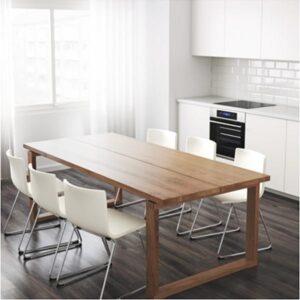 МОРБИЛОНГА Стол дубовый шпон коричневая морилка 220x100 см - Артикул: 903.773.57