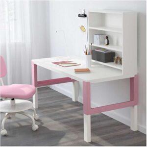ПОЛЬ Письменн стол с полками белый/розовый 128x58 см - Артикул: 592.512.75