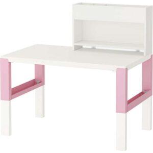 ПОЛЬ Стол с дополнительным модулем белый/розовый 96x58 см - Артикул: 492.512.71