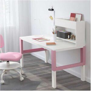 ПОЛЬ Стол с дополнительным модулем белый/розовый 128x58 см - Артикул: 292.512.67