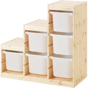 ТРУФАСТ Комбинация д/хранения светлая беленая сосна/белый 94x44x91 см - Артикул: 492.223.25