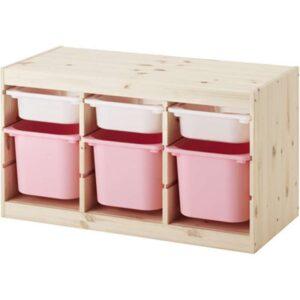 ТРУФАСТ Комбинация д/хранения+контейнерами светлая беленая сосна белый/розовый 94x44x52 см - Артикул: 292.223.88