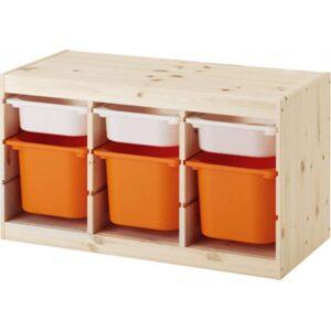 ТРУФАСТ Комбинация д/хранения+контейнерами светлая беленая сосна белый/оранжевый 94x44x52 см - Артикул: 092.223.89