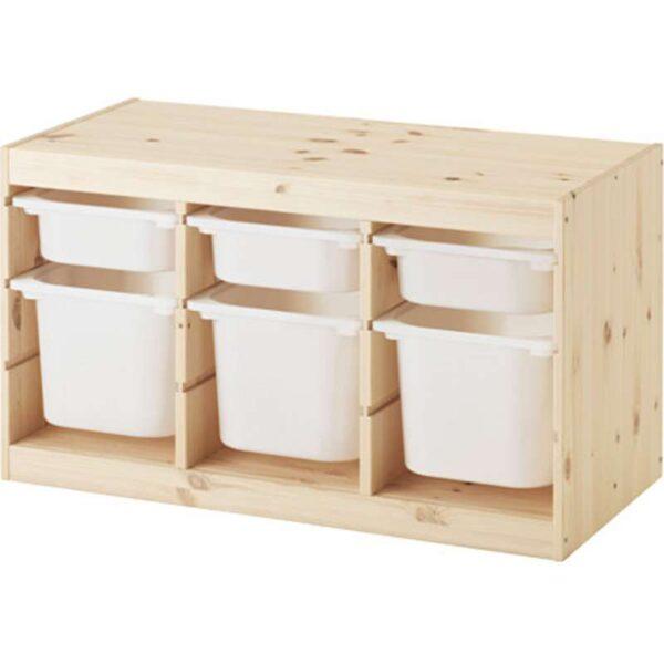 ТРУФАСТ Комбинация д/хранения+контейнерами светлая беленая сосна/белый 94x44x52 см - Артикул: 492.223.87