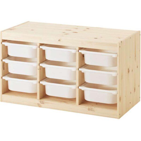 ТРУФАСТ Комбинация д/хранения+контейнерами светлая беленая сосна/белый 94x44x52 см - Артикул: 292.223.93