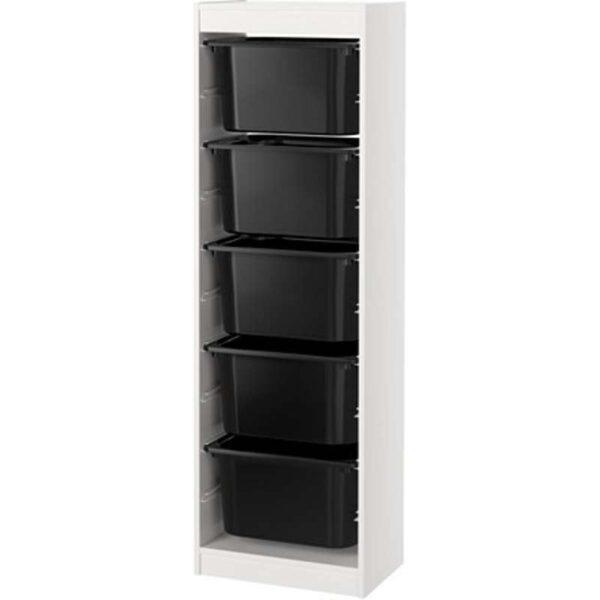 ТРУФАСТ Комбинация д/хранения+контейнерами белый/черный 46x30x145 см - Артикул: 892.222.10