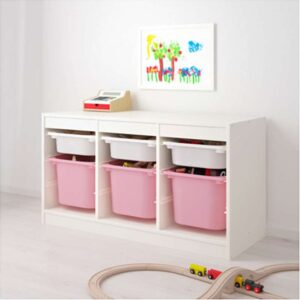ТРУФАСТ Комбинация д/хранения+контейнерами белый/розовый 99x44x56 см - Артикул: 692.221.50