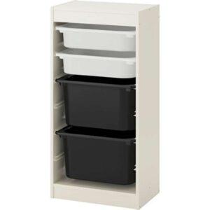 ТРУФАСТ Комбинация д/хранения+контейнерами белый/белый черный 46x30x94 см - Артикул: 792.222.01