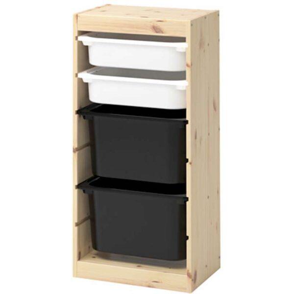 ТРУФАСТ Комбинация д/хранения+контейнерами светлая беленая сосна белый/черный 44x30x91 см - Артикул: 592.223.82