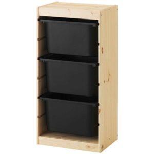 ТРУФАСТ Комбинация д/хранения+контейнерами светлая беленая сосна/черный 44x30x91 см - Артикул: 392.223.78