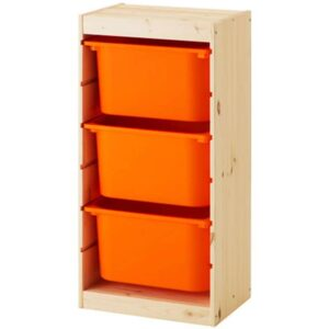 ТРУФАСТ Комбинация д/хранения+контейнерами светлая беленая сосна/оранжевый 44x30x91 см - Артикул: 592.223.77