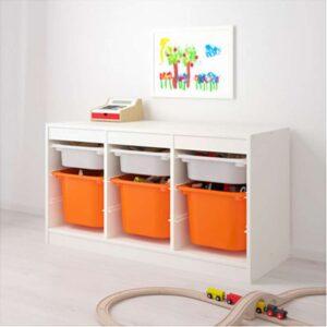 ТРУФАСТ Комбинация д/хранения+контейнерами белый/оранжевый 99x44x56 см - Артикул: 292.221.47