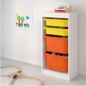 ТРУФАСТ Комбинация д/хранения+контейнерами белый/желтый оранжевый 46x30x94 см - Артикул: 092.222.09