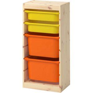 ТРУФАСТ Комбинация д/хранения+контейнерами светлая беленая сосна оранжевый/желтый 44x30x91 см - Артикул: 792.223.81