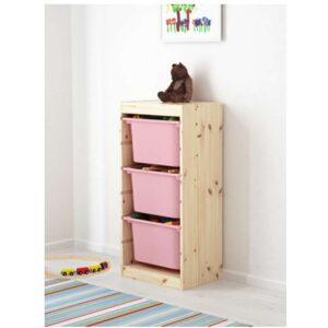 ТРУФАСТ Комбинация д/хранения+контейнерами светлая беленая сосна/розовый 44x30x91 см - Артикул: 192.223.79