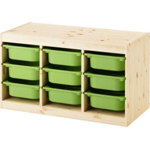 ТРУФАСТ Комбинация д/хранения+контейнерами светлая беленая сосна/зеленый 94x44x52 см - Артикул: 692.223.91