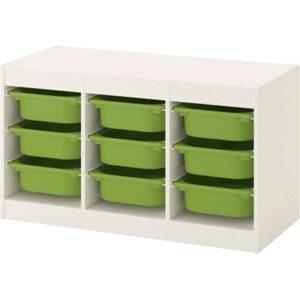 ТРУФАСТ Комбинация д/хранения+контейнерами белый/зеленый 99x44x56 см - Артикул: 692.221.93