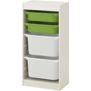 ТРУФАСТ Комбинация д/хранения+контейнерами белый/зеленый белый 46x30x94 см - Артикул: 292.222.08