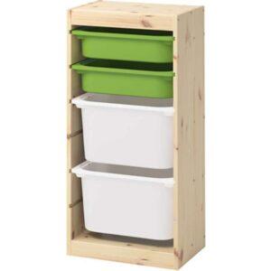 ТРУФАСТ Комбинация д/хранения+контейнерами светлая беленая сосна зеленый/белый 44x30x91 см - Артикул: 492.408.95