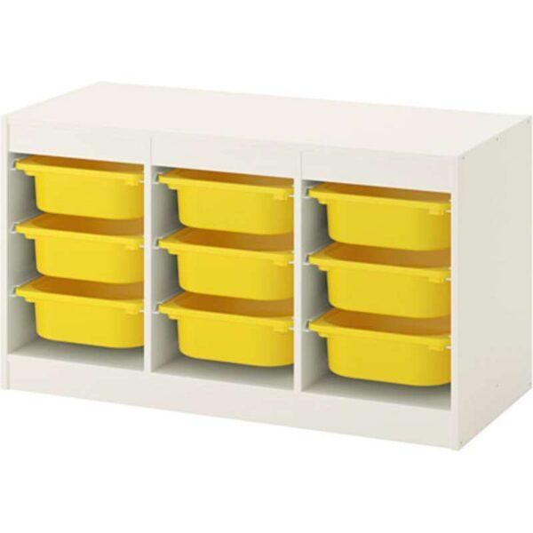 ТРУФАСТ Комбинация д/хранения+контейнерами белый/желтый 99x44x56 см - Артикул: 492.221.94