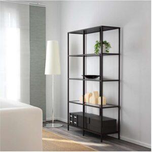 ВИТШЁ Стеллаж черно-коричневый/стекло 100x175 см - Артикул: 603.834.30