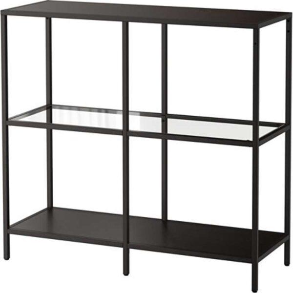 ВИТШЁ Стеллаж черно-коричневый/стекло 100x93 см - Артикул: 003.834.33