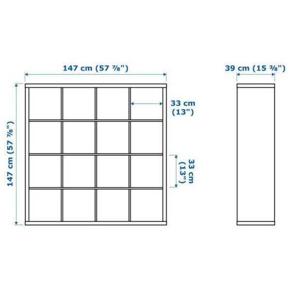 КАЛЛАКС Стеллаж с 4 вставками, белый/под беленый дуб 147x147 см [092.280.94]