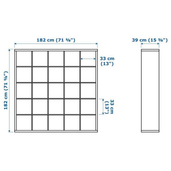 КАЛЛАКС Стеллаж с 10 вставками, черно-коричневый 182x182 см - 292.783.37
