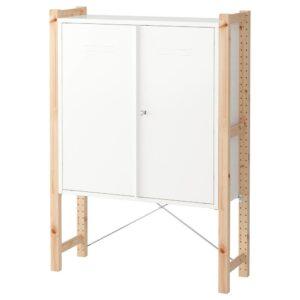 ИВАР Шкаф с дверями, сосна/белый 89x30x124 см - 492.482.07