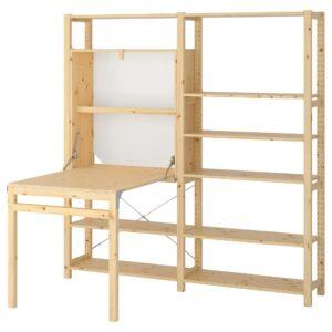 ИВАР 2 секции д/хранения+складной столик, сосна 175x30-104x179 см - 292.485.62