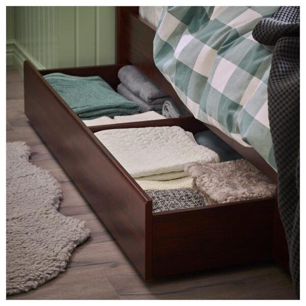 СОНГЕСАНД Каркас кровати с 2 ящиками, коричневый/Лурой 90x200 см - 992.409.68