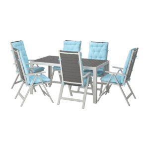 ШЭЛЛАНД Стол+6кресел,д/сада, темно-серый/Куддарна голубой 156x90 см - 392.919.13