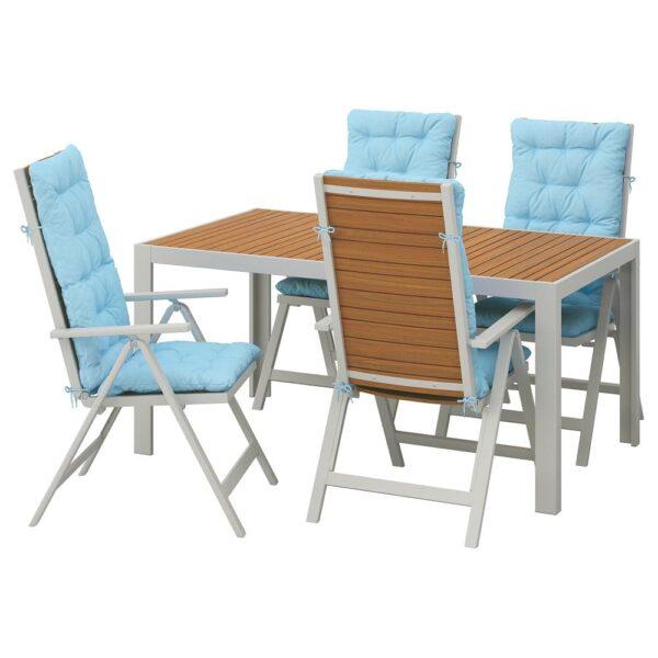ШЭЛЛАНД Стол+4 кресла, д/сада, светло-коричневый/Куддарна голубой 156x90 см - 692.918.17