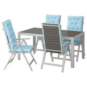 ШЭЛЛАНД Стол+4 кресла, д/сада, темно-серый/Куддарна голубой 156x90 см - 792.918.26