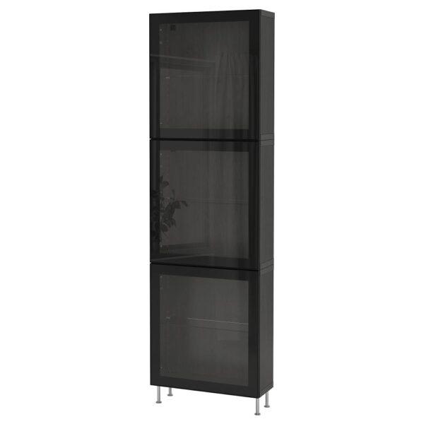 БЕСТО Комбинация д/хранения+стекл дверц, черно-коричневый/глассвик/сталларп черный/прозрачное стекло 60x22x202 см - 393.019.26