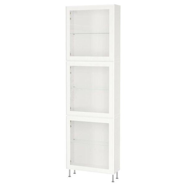 БЕСТО Комбинация д/хранения+стекл дверц, белый/глассвик/сталларп белый прозрачное стекло 60x22x202 см - 593.019.11