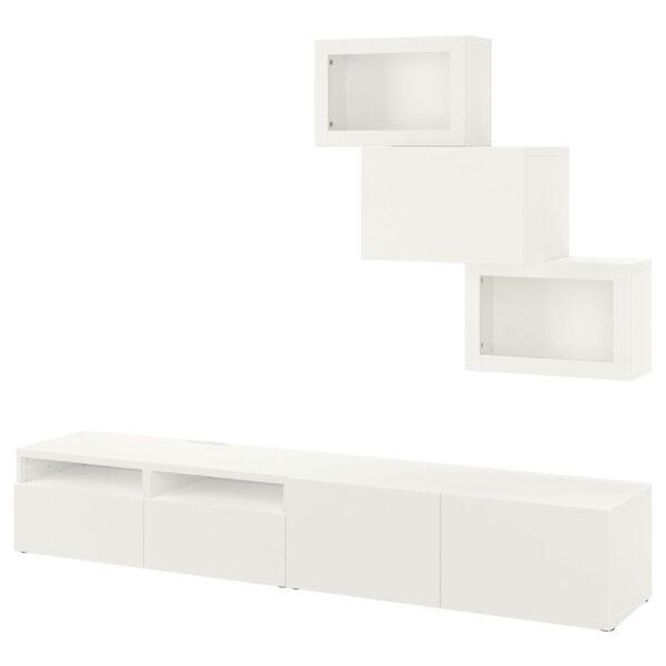 БЕСТО Шкаф для ТВ, комбин/стеклян дверцы, белый/Лаппвикен белый прозрачное стекло 240x42x190 см - 593.026.23