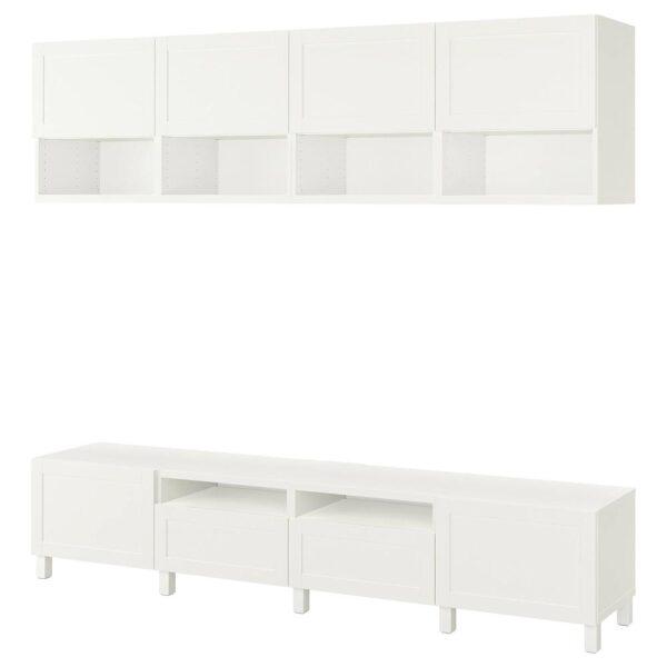 БЕСТО Шкаф для ТВ, комбинация, белый/ХАНВИКЕН/СТУББАРП белый 240x42x230 см - 893.029.47