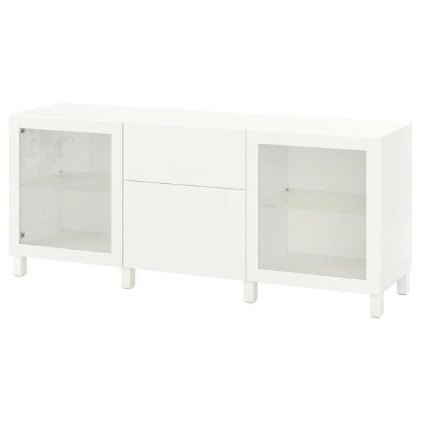 БЕСТО Комбинация для хранения с ящиками, белый Лаппвикен/синдвик/стуббарп белый прозрачное стекло 180x42x74 см - 093.026.87