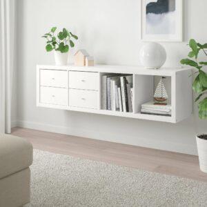 КАЛЛАКС Стеллаж с 2 вставками, белый 42x147 см - 292.782.95