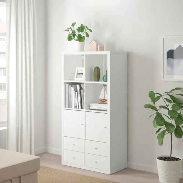 КАЛЛАКС Стеллаж с 4 вставками, белый 77x147 см - 192.783.09