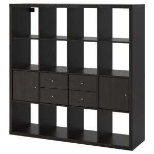 КАЛЛАКС Стеллаж с 4 вставками, черно-коричневый 147x147 см - 392.783.27
