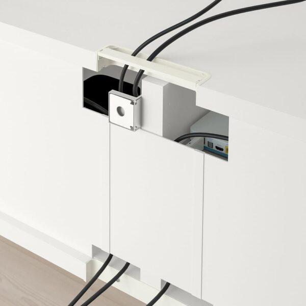 БЕСТО Шкаф для ТВ, комбин/стеклян дверцы, белый/Ханвикен белый прозрачное стекло 240x42x190 см - 493.026.14