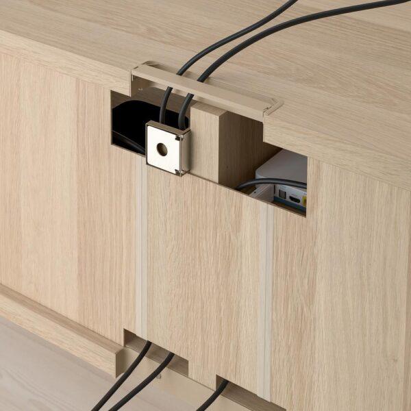 БЕСТО Шкаф для ТВ, комбин/стеклян дверцы, под беленый дуб/Лаппвикен под беленый дуб, прозрачное стелко 240x42x190 см - 293.026.48