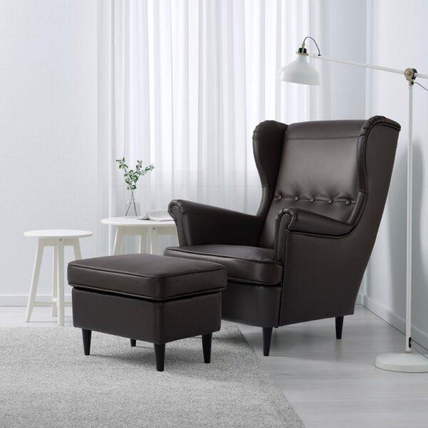 СТРАНДМОН Кресло с подголовником, Гранн/Бумстад темно-коричневый - 504.532.54